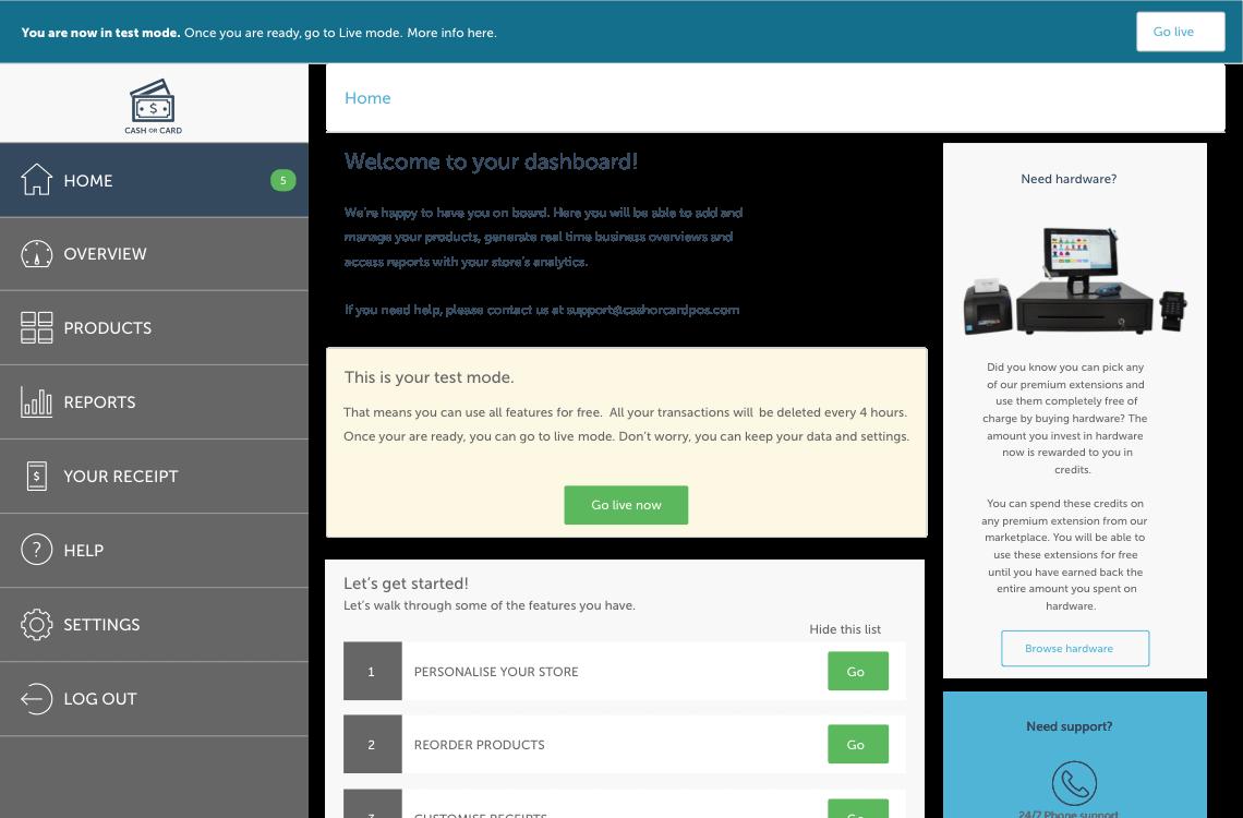 CashOrCard responsive dashboard